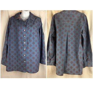 Foxcroft Chambray Button Front Shirt Size 16W